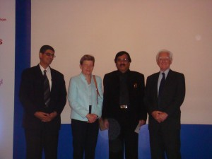 Dr Sanjay Agarwal, Dr Jenny from Italy, Dr Edward Horton of Joslin USA and Dr Deepak Jumani at 5th International Symposium on Diabetess held in Bangalore